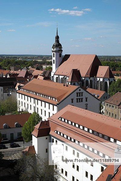 Evangelische Stadtkirche Sankt Marien und Schloss Hartenfels  Lutherweg  Torgau  Sachsen  Deutschland  Europa