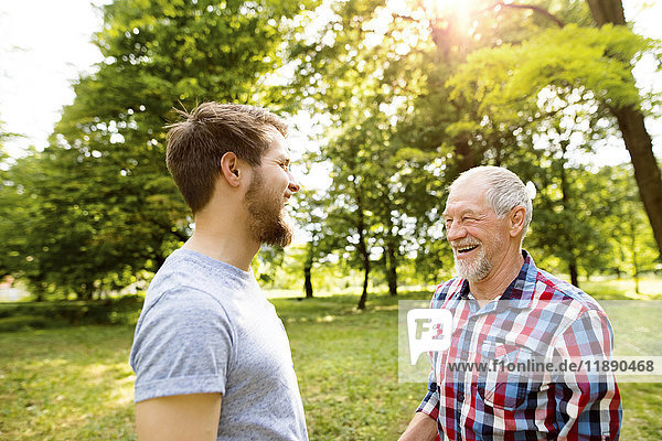 Senior father and his adult son laughing together in a park