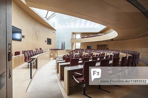 Leerer Plenarsaal  Maximilianeum  Bayerischer Landtag  München  Oberbayern  Bayern  Deutschland  Europa