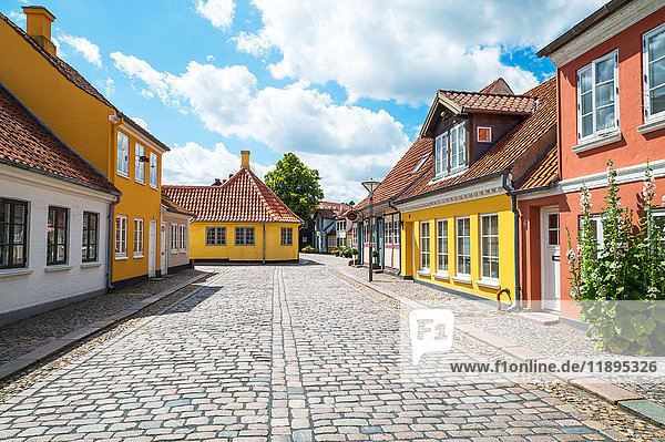Odense  Denmark  Traditional houses in the old town with the Hans Christian Andersen home in the background left
