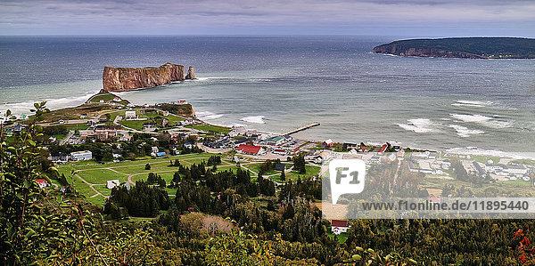 America  Canada  Québec  Gaspésie  Percé city  coast  Perce rock is a huge sheer rock formation in the Gulf of Saint Lawrence on the tip of the Gaspe Peninsula in Quebec  Canada  off Perce Bay.