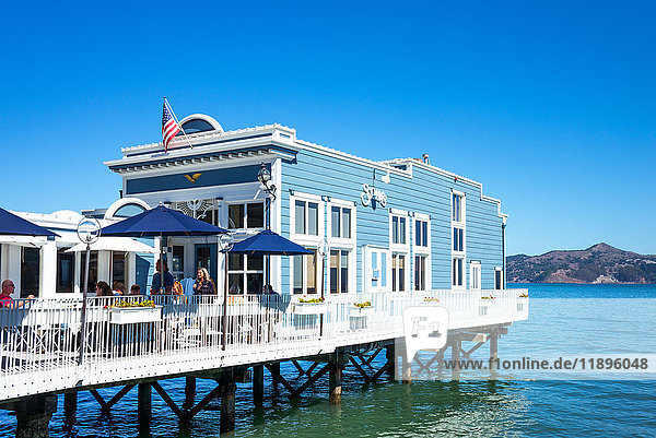 Sausalito,  USA,  A restaurant on stilts in the waterfront of the country