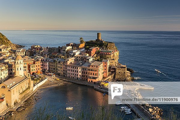 Townscape  colorful houses in the evening light  Vernazza  Cinque Terre National Park  Liguria  Italy  Europe