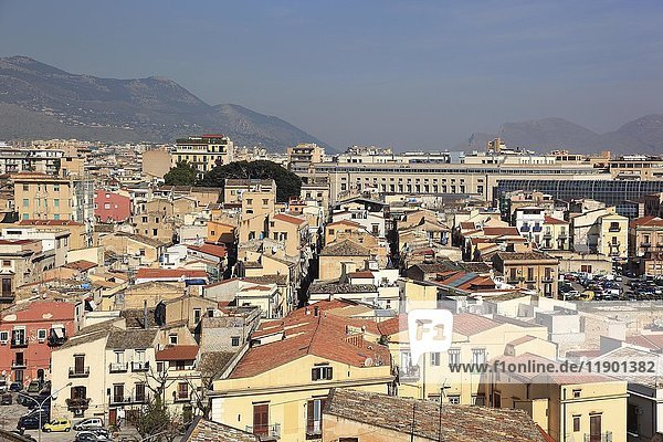 View from the roof of the cathedral to the city  Palermo  Sicily  Italy  Europe