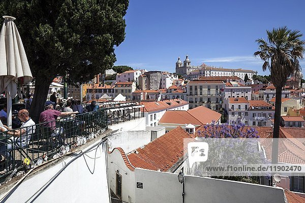 View from the Miradouro Santa Luzia of the old town of Lisbon  at back the monastery church of São Vincente de Fora  Alfama district  Lisbon  Portugal  Europe