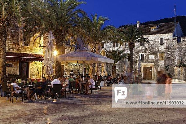 Cafes and restaurants  European Starlingi Grad  island of Hvar  Spilit-Dalmatia  Croatia  Europe