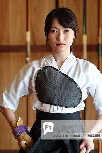 Japanese traditional archery athlete portrait