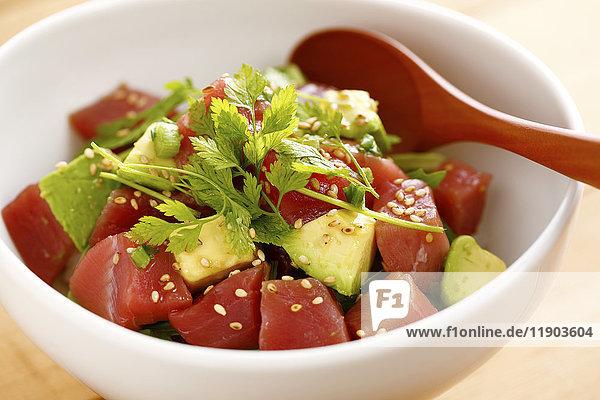 Japanese style tuna and avocado bowl