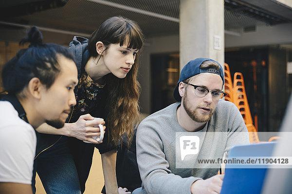 Programmierer und Programmiererinnen mit Laptop am Schreibtisch im Büro