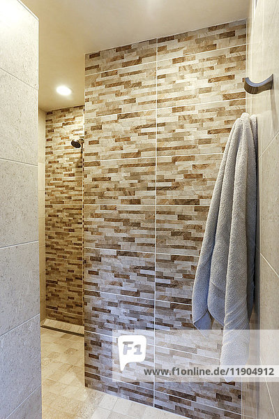 Towel hanging in luxury shower