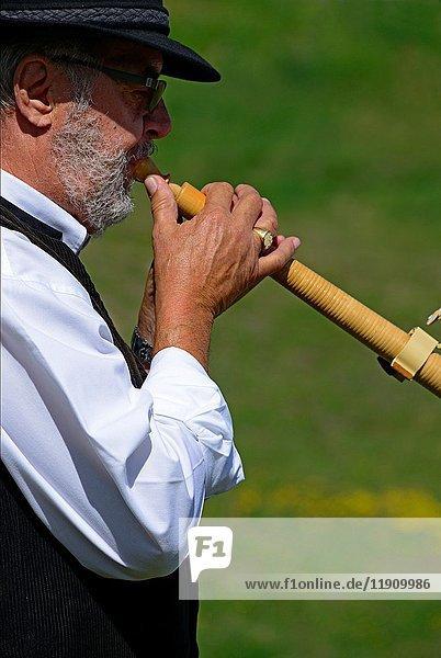 Single man playing alphorn  Nendaz  canton Valais  canton Wallis  Switzerland.