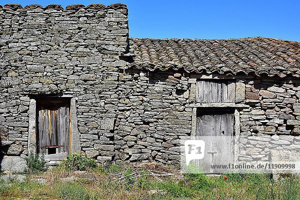 Popular architecture. House building with granite blocks. Fornillos de Fermoselle  Sayago  Zamora Province  Castilla-Leon  Spain.