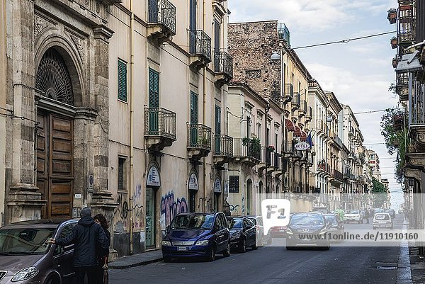 Typical street in Catania city on the east side of Sicily Island  Italy.