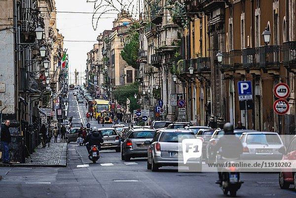 Via Vittorio Emanuele II street in Catania city on the east side of Sicily Island  Italy.