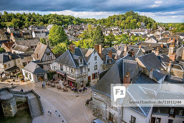 The City View from the Castle of Langeais  Indre-et-Loire  Centre region  Loire valley  France  Europe.