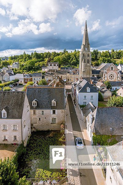 The City View from the Castle of Langeais with Saint-Jean-Baptiste Church  Indre-et-Loire  Centre region  Loire valley  France  Europe.