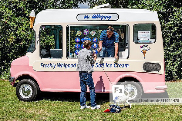 A Traditional Ice Cream Van  Kingston Village Fete  Kingston  East Sussex  UK.