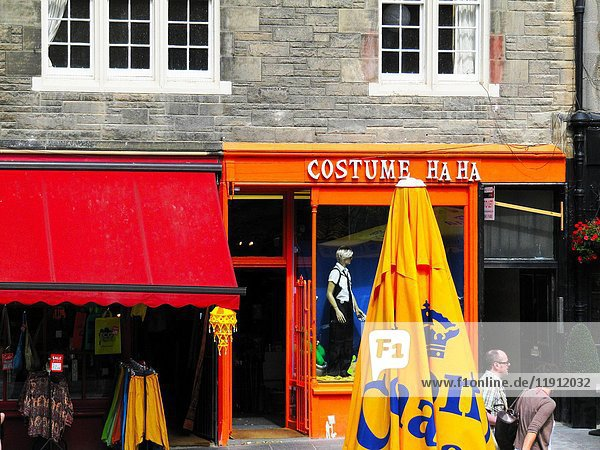 Historic Town Houses and Colourful Shopfronts in Edinburgh Old Town  Scotland  Europe.