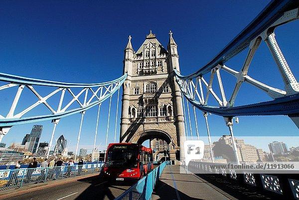 Tower Bridge and Traffic  London  United Kingdom  Europe.