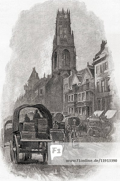 Fleet Street  London  England showing the old houses and St. Dunstan's Church as they were in the nineteenth century. From the book London Pictures drawn with pen and pencil by The Rev Richard Lovett  published 1890.