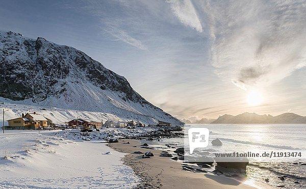 Village Vikten on the island Flakstadoya. The Lofoten Islands in northern Norway during winter. Europe  Scandinavia  Norway  February.