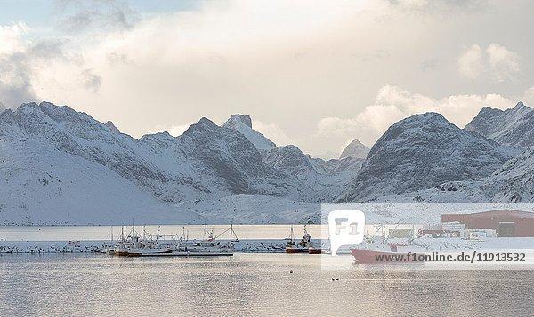 Village Fredvang on the island Moskenesoya. The Lofoten Islands in northern Norway during winter. Europe  Scandinavia  Norway  February.