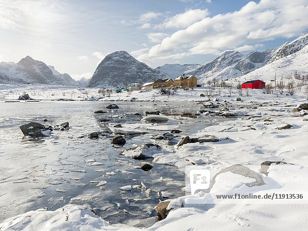 Village Selfjord on island Moskenesoya. The Lofoten Islands in northern Norway during winter. Europe  Scandinavia  Norway  February.