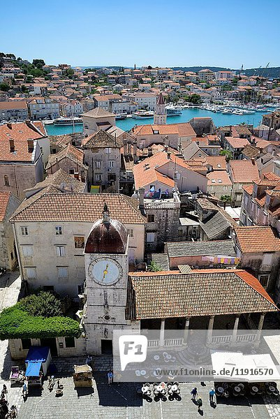 Croatia  Dalmatia  Dalmatian coast  Trogir  historical center listed as World Heritage by UNESCO  view from the cathedral of St. Lawrence (Katedrala Sv. Lovre)
