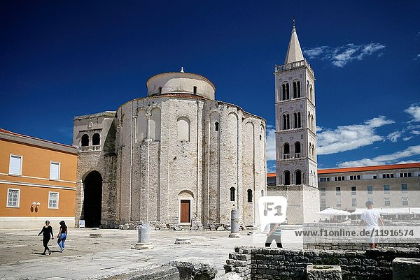 Croatia  Dalmatia  Dalmatian Coast  Zadar  episcopal complex  listed as World Heritage by UNESCO  Roman forum  Saint Donat church and the cathedral bell tower