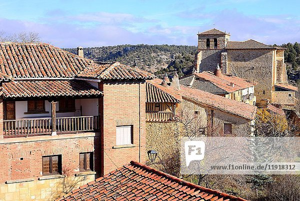 View of the church of Our Lady of Calatañazor from the castle. Soria province  Spain.