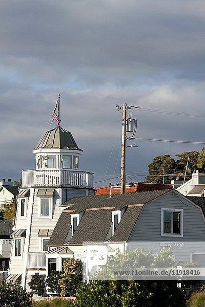 Buildings near the harbor  Santa Cruz  California  United States  North America.