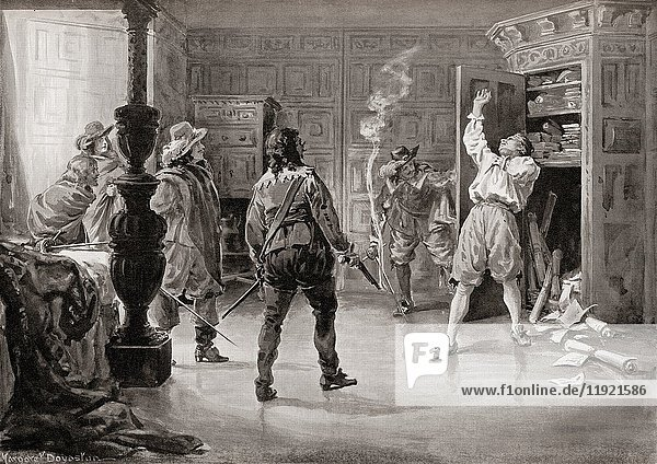 The murder of Miguel de Vasconcelos in 1640 by a group of Portuguese revolutionaries. Miguel de Vasconcelos or Vasconcellos e Brito  c. 1590-1640. Last Secretary of State (Prime Minister) of the Kingdom of Portugal. After the painting by Margaret Dovaston (1884-1954). From Hutchinson's History of the Nations  published 1915.