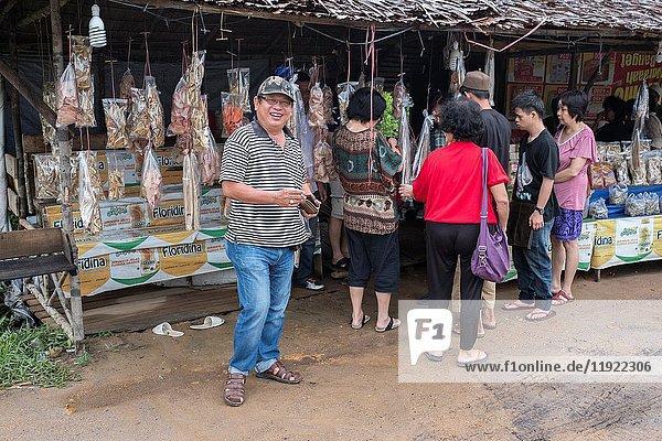 Roadside stalls selling salted fish in SIngkawang  Wets Kalimantan  Indonesia