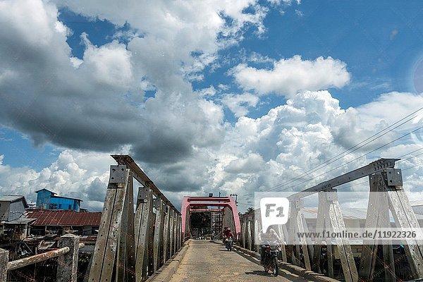 Scenery of bridge crossing along Singkawang-Aruk road  West Kalimantan  Indonesia