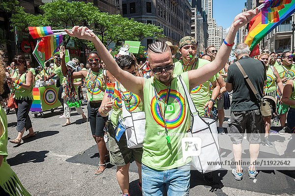 TD Bank employees in the annual Lesbian  Gay  Bisexual  Transgender and Queer (LGBTQ) Pride Parade on Fifth Avenue in New York on Sunday  June 25  2017. Besides the corporate sponsors  politicians and various social service groups many participants carried political themed signs showing their dissatisfaction with President Trump.