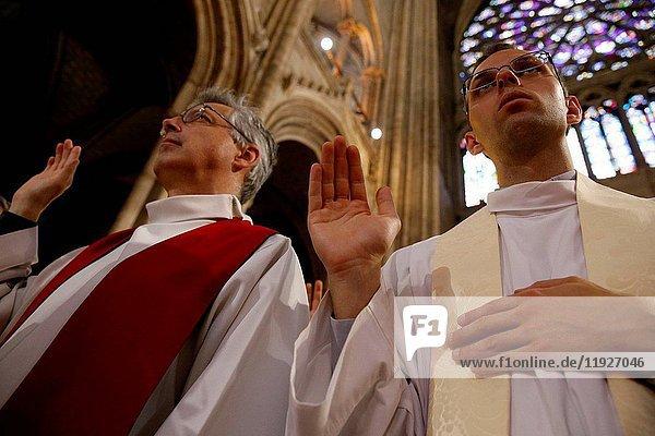 Priest ordinations at Notre-Dame de Paris cathedral.
