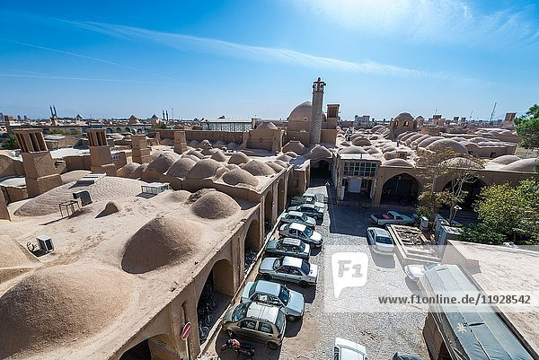 View from the roof of Khan bazaar with mosque minaret in Mosalla quarter of Yazd  capital of Yazd Province of Iran.