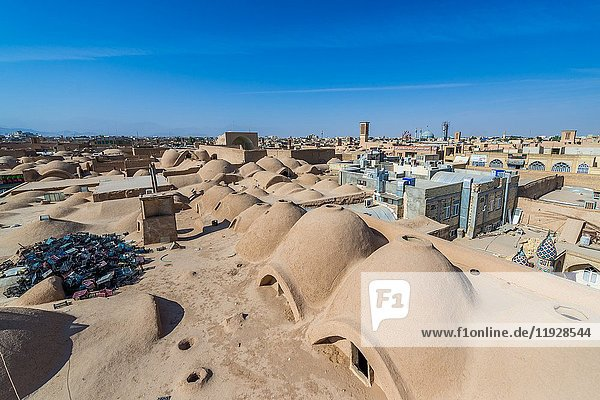 Aerial view of rooftops of bazaar in Yazd  capital of Yazd Province of Iran.