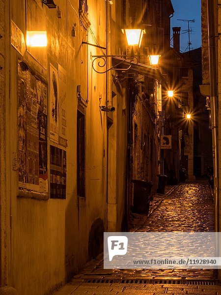 Rovinj Croatia Street Scene Pre Dawn.