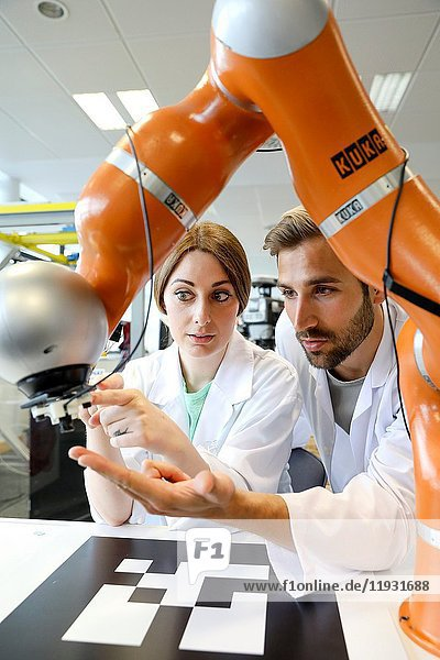 Collaborative robot for industrial assembly  LWR robot  using haptic teleoperation with force feedback Safety in human-robot cooperation  Industry  Tecnalia Research & innovation  Technology and Research Centre  Miramon Technological Park  San Sebastian  Donostia  Gipuzkoa  Basque Country  Spain  Europe