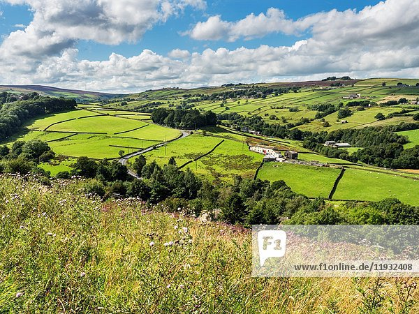 View over the Sladen Valley near Haworth West Yorkshire England.