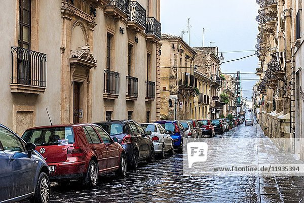 Street on the Old Town of Noto town  Province of Syracuse on Sicily Island in Italy.