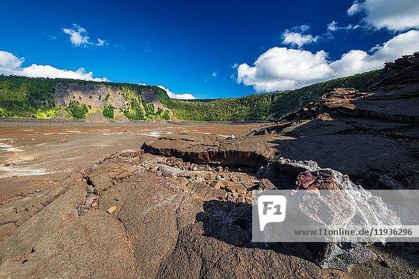 Fissures in the Kilauea Iki caldera  Hawaii Volcanoes National Park  Hawaii USA.