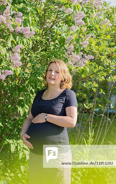 Schwangere Frau steht an einem blühenden Busch
