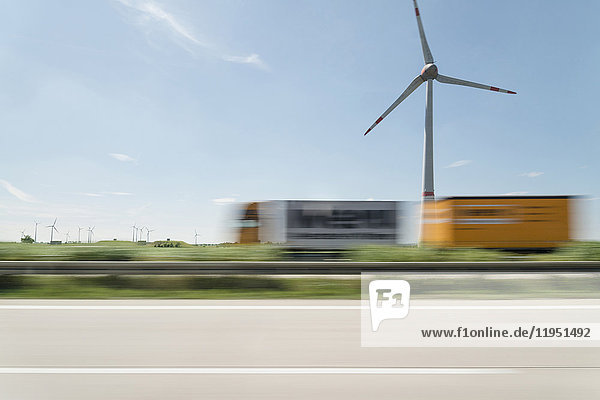 Wind turbine and traffic on the street