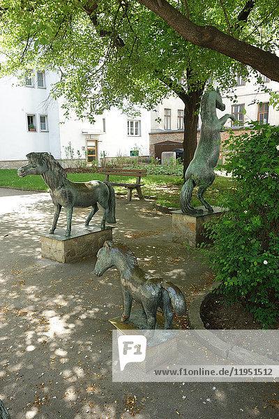 Austria  Vienna  horse statues in urban park