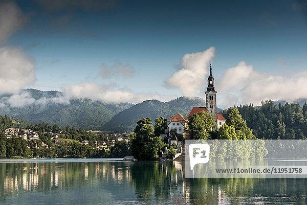 Ansicht der Kirche auf der Insel Bled  Bleder See  Slowenien