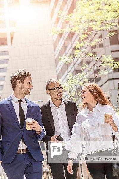 Geschäftsleute flanieren auf dem Bürgersteig der Stadt  New York  USA