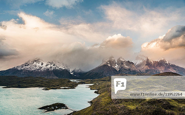 Dramatic sky over Cuernos del Paine and Paine Grande  Torres del Paine National Park  Chile