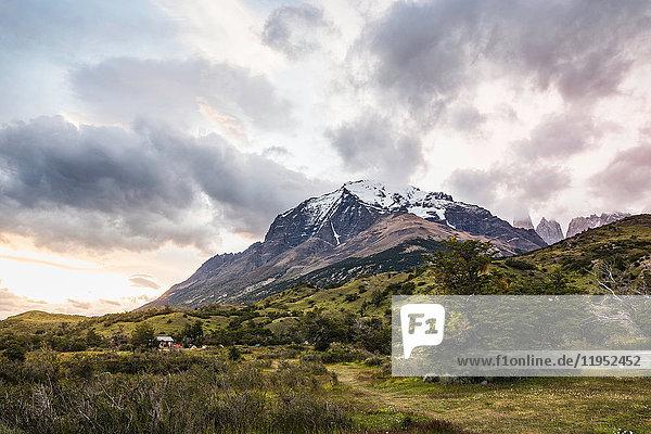 Snow capped mountain landscape  Torres del Paine National Park  Chile